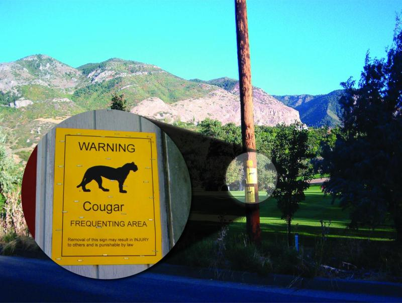 Golf course in the Ogden, Utah area with wildlife warnings posted. Outdoor lighting can influence animal movement, behavior, and habitat use - especially along the urban-wildland interface. (Photo: David Stoner/Utah State University)